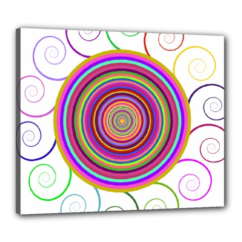 Abstract Spiral Circle Rainbow Color Canvas 24  X 20