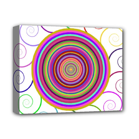 Abstract Spiral Circle Rainbow Color Deluxe Canvas 14  x 11