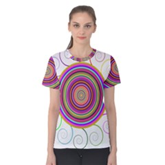 Abstract Spiral Circle Rainbow Color Women s Cotton Tee