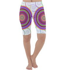 Abstract Spiral Circle Rainbow Color Cropped Leggings