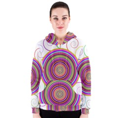 Abstract Spiral Circle Rainbow Color Women s Zipper Hoodie