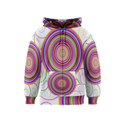 Abstract Spiral Circle Rainbow Color Kids  Zipper Hoodie
