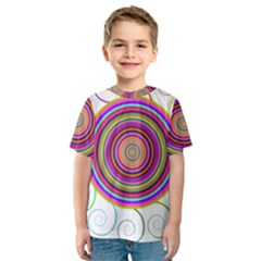 Abstract Spiral Circle Rainbow Color Kids  Sport Mesh Tee