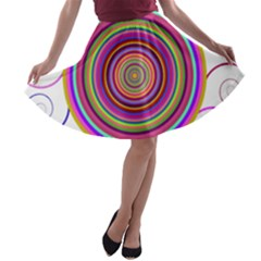 Abstract Spiral Circle Rainbow Color A-line Skater Skirt