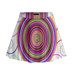 Abstract Spiral Circle Rainbow Color Mini Flare Skirt