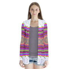 Abstract Spiral Circle Rainbow Color Cardigans