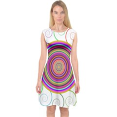 Abstract Spiral Circle Rainbow Color Capsleeve Midi Dress