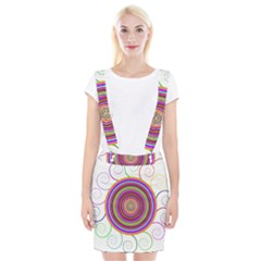 Abstract Spiral Circle Rainbow Color Suspender Skirt