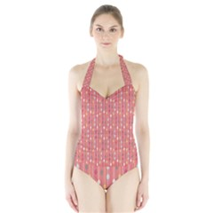 Circle Red Freepapers Paper Halter Swimsuit