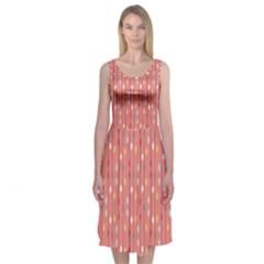 Circle Red Freepapers Paper Midi Sleeveless Dress