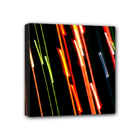 Colorful Diagonal Lights Lines Mini Canvas 4  x 4