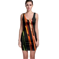 Colorful Diagonal Lights Lines Sleeveless Bodycon Dress
