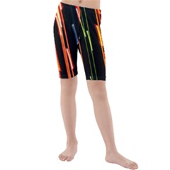 Colorful Diagonal Lights Lines Kids  Mid Length Swim Shorts