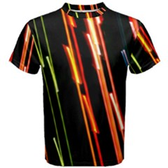 Colorful Diagonal Lights Lines Men s Cotton Tee