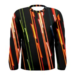 Colorful Diagonal Lights Lines Men s Long Sleeve Tee