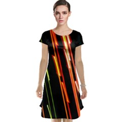 Colorful Diagonal Lights Lines Cap Sleeve Nightdress
