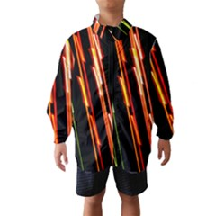 Colorful Diagonal Lights Lines Wind Breaker (Kids)