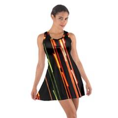 Colorful Diagonal Lights Lines Cotton Racerback Dress