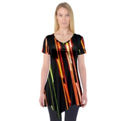 Colorful Diagonal Lights Lines Short Sleeve Tunic