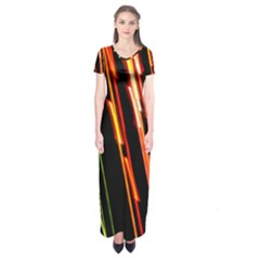 Colorful Diagonal Lights Lines Short Sleeve Maxi Dress