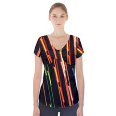 Colorful Diagonal Lights Lines Short Sleeve Front Detail Top