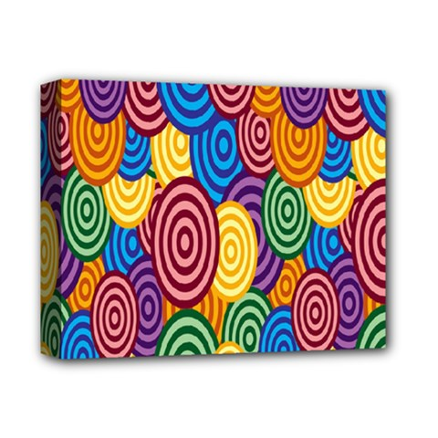 Circles Color Yellow Purple Blu Pink Orange Illusion Deluxe Canvas 14  X 11