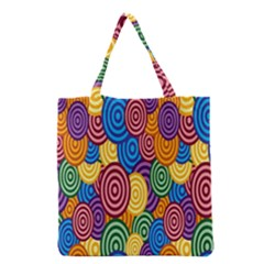 Circles Color Yellow Purple Blu Pink Orange Illusion Grocery Tote Bag