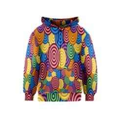 Circles Color Yellow Purple Blu Pink Orange Illusion Kids  Zipper Hoodie