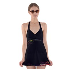 Colorful Light Frame Line Halter Swimsuit Dress