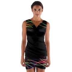 Colorful Light Frame Line Wrap Front Bodycon Dress