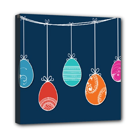 Easter Egg Balloon Pink Blue Red Orange Mini Canvas 8  x 8