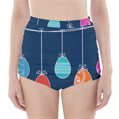 Easter Egg Balloon Pink Blue Red Orange High-Waisted Bikini Bottoms