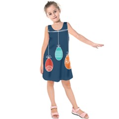 Easter Egg Balloon Pink Blue Red Orange Kids  Sleeveless Dress