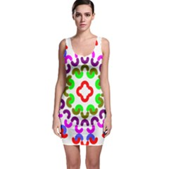 Decoration Red Blue Pink Purple Green Rainbow Sleeveless Bodycon Dress