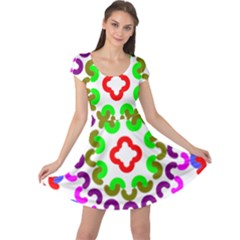 Decoration Red Blue Pink Purple Green Rainbow Cap Sleeve Dresses