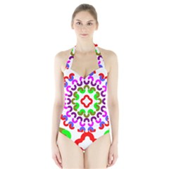 Decoration Red Blue Pink Purple Green Rainbow Halter Swimsuit