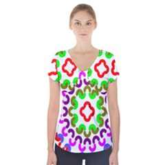 Decoration Red Blue Pink Purple Green Rainbow Short Sleeve Front Detail Top