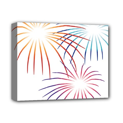 Fireworks Orange Blue Red Pink Purple Deluxe Canvas 14  x 11