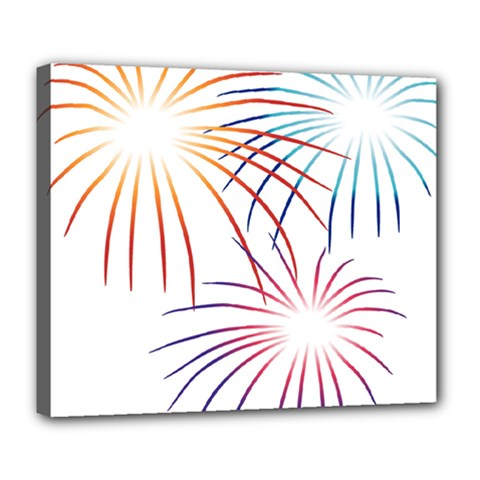 Fireworks Orange Blue Red Pink Purple Deluxe Canvas 24  x 20