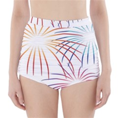 Fireworks Orange Blue Red Pink Purple High-Waisted Bikini Bottoms