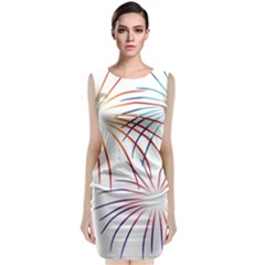 Fireworks Orange Blue Red Pink Purple Classic Sleeveless Midi Dress