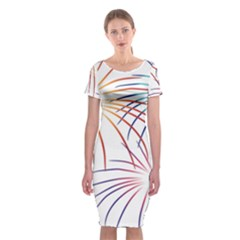 Fireworks Orange Blue Red Pink Purple Classic Short Sleeve Midi Dress