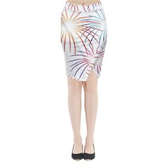 Fireworks Orange Blue Red Pink Purple Midi Wrap Pencil Skirt