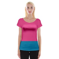 Flag Color Pink Blue Women s Cap Sleeve Top