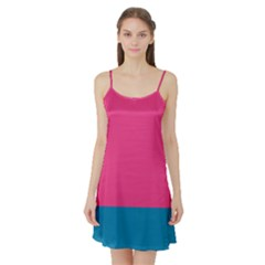 Flag Color Pink Blue Satin Night Slip