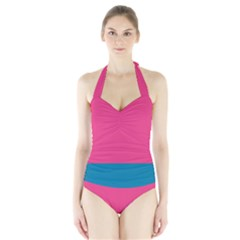 Flag Color Pink Blue Halter Swimsuit
