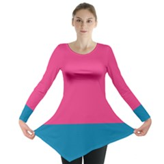 Flag Color Pink Blue Long Sleeve Tunic