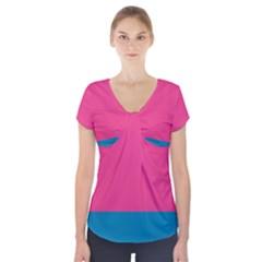 Flag Color Pink Blue Short Sleeve Front Detail Top