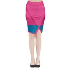 Flag Color Pink Blue Midi Wrap Pencil Skirt