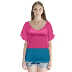 Flag Color Pink Blue Flutter Sleeve Top